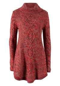 Czerwony sweter bonprix długi, melanż, z długim rękawem