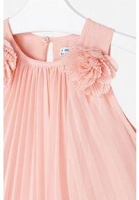 Pomarańczowa sukienka Mayoral bez rękawów, mini, plisowana