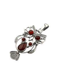 Polcarat Design - Srebrny wisiorek Sowa z bursztynem W 1181. Materiał: srebrne. Kolor: srebrny. Kamień szlachetny: bursztyn