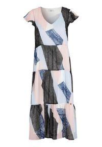 Cellbes Szyfonowa sukienka z falbanek we wzory female ze wzorem 42/44. Typ kołnierza: dekolt w serek. Materiał: szyfon. Styl: klasyczny, elegancki