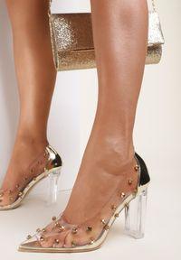 Renee - Złote Transparentne Czółenka Andrefa. Wysokość cholewki: przed kostkę. Nosek buta: szpiczasty. Zapięcie: bez zapięcia. Kolor: złoty. Szerokość cholewki: normalna. Obcas: na słupku. Styl: glamour