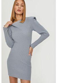 Niebieska sukienka Answear Lab mini, na co dzień, z długim rękawem