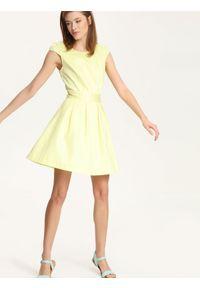 Żółta sukienka TROLL z okrągłym kołnierzem, wizytowa, z krótkim rękawem