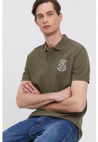 Pepe Jeans - Polo DARRYL. Okazja: na co dzień. Typ kołnierza: polo. Kolor: zielony. Materiał: dzianina. Długość: krótkie. Wzór: gładki. Styl: casual
