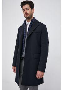 BOSS - Boss - Płaszcz z domieszką wełny. Kolor: niebieski. Materiał: wełna. Wzór: gładki. Styl: klasyczny