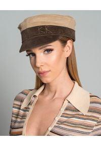 RUSLAN BAGINSKIY - Kaszkiet z zamszu. Kolor: brązowy. Materiał: zamsz. Styl: elegancki