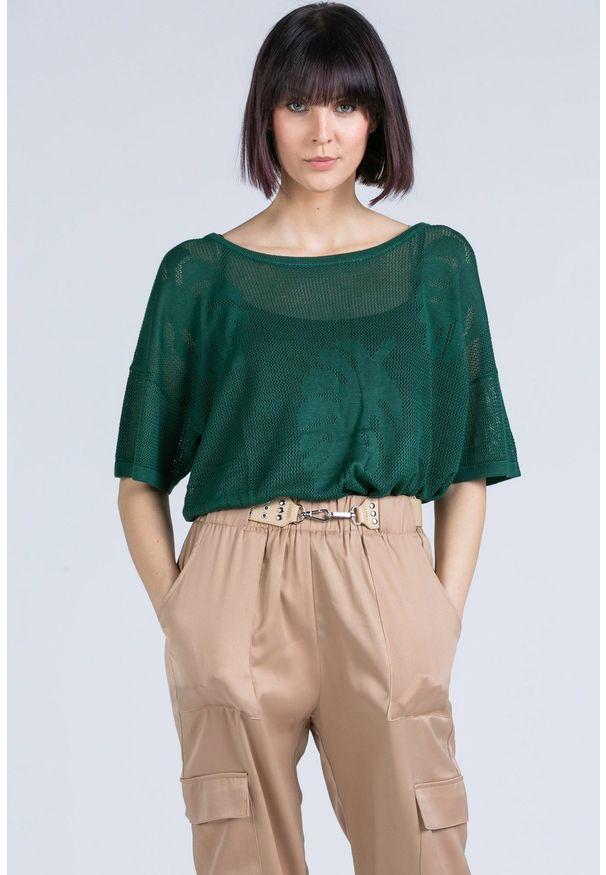 Zielona bluzka Monnari krótka, w ażurowe wzory