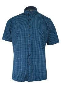 Niebieska elegancka koszula Ravanelli z krótkim rękawem, na spotkanie biznesowe, krótka