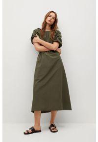 mango - Mango - Sukienka OLIVA. Kolor: brązowy. Materiał: materiał. Długość rękawa: krótki rękaw. Typ sukienki: rozkloszowane