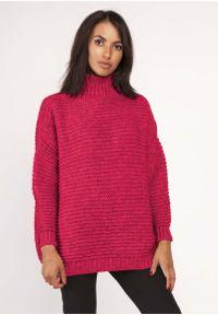 Różowy sweter oversize Lanti z golfem