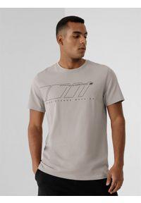 4f - T-shirt basic regular z nadrukiem męski. Kolor: szary. Materiał: dzianina, bawełna, materiał. Wzór: nadruk