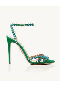 AQUAZZURA - Zielone sandały na szpilce Tequila. Zapięcie: pasek. Kolor: zielony. Wzór: aplikacja, paski. Obcas: na szpilce. Styl: elegancki. Wysokość obcasa: średni