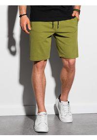 Ombre Clothing - Krótkie spodenki męskie dresowe W291 - oliwkowe - XXL. Kolor: oliwkowy. Materiał: dresówka. Długość: krótkie. Styl: klasyczny