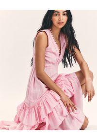 LOVE SHACK FANCY - Różowa sukienka maxi Jordie. Kolor: wielokolorowy, różowy, fioletowy. Materiał: tkanina, jedwab, bawełna. Wzór: aplikacja. Długość: maxi