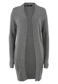 Długi sweter dzianinowy bez zapięcia, długi rękaw bonprix szary melanż. Kolor: szary. Materiał: dzianina. Długość rękawa: długi rękaw. Długość: długie. Wzór: melanż