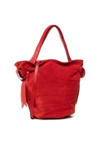 Czerwona torebka klasyczna Creole klasyczna, zamszowa