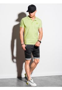 Ombre Clothing - Koszulka męska polo klasyczna bawełniana S1374 - limonkowa - XXL. Typ kołnierza: polo. Materiał: bawełna. Wzór: haft. Styl: klasyczny