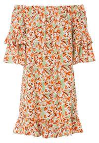 Sukienka z dekoltem carmen i falbanami bonprix pomarańczowy w kwiaty. Typ kołnierza: typu carmen. Kolor: pomarańczowy. Wzór: kwiaty