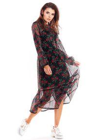 Szara sukienka rozkloszowana Awama w kwiaty