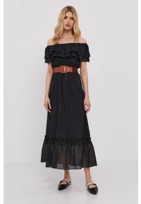Czarna sukienka Liu Jo na co dzień, bez ramiączek, gładkie