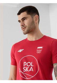 4f - Koszulka męska Polska - Tokio 2020. Kolor: czerwony. Materiał: dzianina, bawełna. Wzór: nadruk. Sezon: lato
