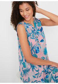 Sukienka koszulowa z kreszowanego materiału z plisą guzikową bonprix jasnoróżowy popielaty z nadrukiem. Kolor: fioletowy. Materiał: materiał. Długość rękawa: bez rękawów. Wzór: nadruk. Typ sukienki: koszulowe