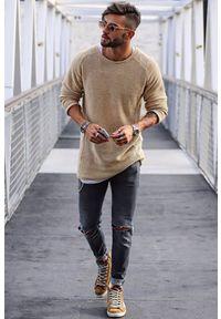 IVET - Sweter męski ELIAS. Okazja: na co dzień. Kolor: beżowy. Długość rękawa: długi rękaw. Długość: długie. Styl: casual
