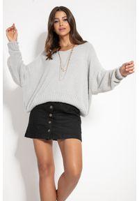 Fobya - Milutki Sweter Oversize z Dekoltem V - Szary. Kolor: szary. Materiał: elastan, nylon, wiskoza, poliamid