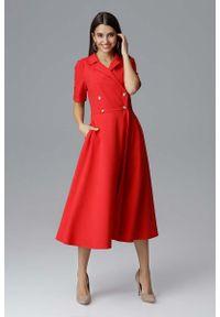 Figl - Czerwona Rozkloszowana Wizytowa Sukienka Żakietowa. Kolor: czerwony. Materiał: poliester. Styl: wizytowy
