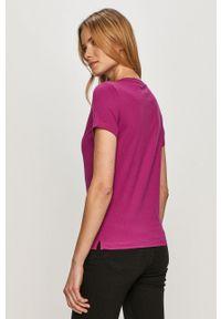 Fioletowa bluzka Guess na co dzień, z nadrukiem, casualowa