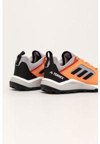 Pomarańczowe buty trekkingowe adidas Performance z cholewką, Adidas Terrex, na sznurówki