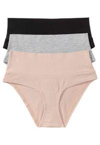 """Figi ciążowe """"panty"""" (3 szt.), bawełna organiczna bonprix czarny + jasnoszary melanż + matowy beżowy. Kolekcja: moda ciążowa. Kolor: czarny. Materiał: bawełna. Wzór: melanż"""