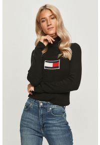 Czarny sweter Tommy Jeans na co dzień, casualowy, z długim rękawem