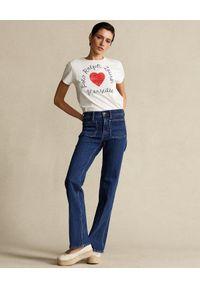 Ralph Lauren - RALPH LAUREN - Biały t-shirt z sercem. Typ kołnierza: polo. Kolor: biały. Materiał: bawełna #4