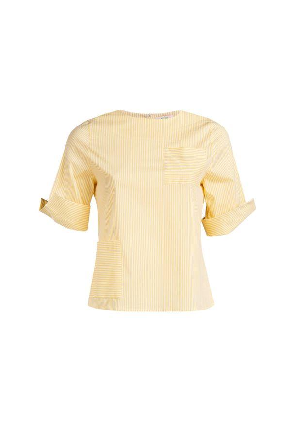 Żółta bluzka VEVA z krótkim rękawem, w paski
