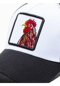 Ombre Clothing - Czapka męska z daszkiem H099 - czarna - uniwersalny. Kolor: czarny. Materiał: poliester