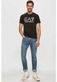 Czarny t-shirt EA7 Emporio Armani casualowy, na co dzień