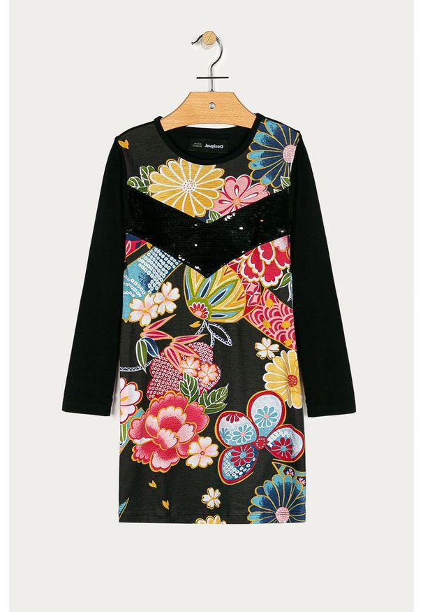 Czarna sukienka Desigual rozkloszowana, z aplikacjami, z długim rękawem, mini