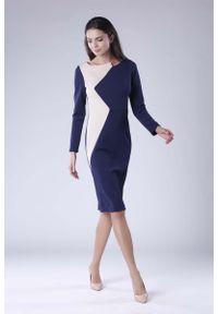 Nommo - Granatowo Beżowa Wizytowa Sukienka z Kontrastowym Panelem. Kolor: niebieski, beżowy, wielokolorowy. Materiał: wiskoza, poliester. Styl: wizytowy