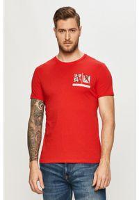 Armani Exchange - T-shirt. Okazja: na co dzień. Kolor: czerwony. Wzór: nadruk. Styl: casual
