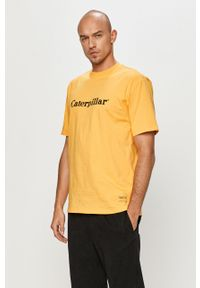 Żółty t-shirt CATerpillar z nadrukiem, casualowy
