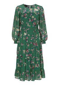 Happy Holly Sukienka we wzory Marcella zielony we wzory female zielony/ze wzorem 32/34. Kolor: zielony. Materiał: szyfon, materiał, poliester