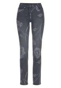 Szare jeansy bonprix z nadrukiem