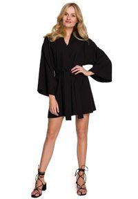 MOE - Krótka Kimonowa Sukienka z Paskiem - Czarna. Kolor: czarny. Materiał: len, poliester. Długość: mini