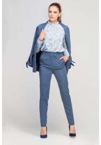 Niebieskie spodnie z wysokim stanem Lanti z podwyższonym stanem, eleganckie