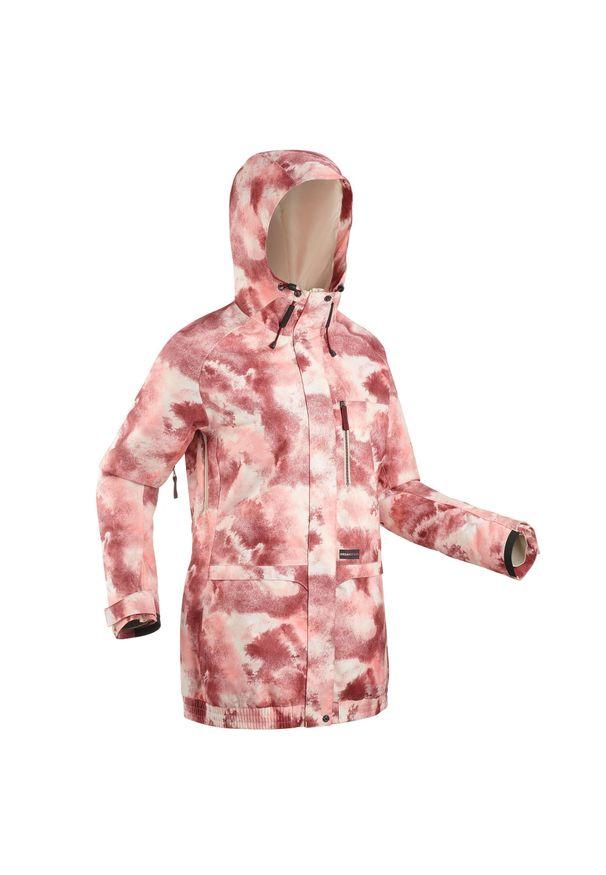 DREAMSCAPE - Kurtka snowboardowa i narciarska SNB JKT 100 AO damska. Kolor: różowy. Materiał: materiał. Sport: narciarstwo, snowboard