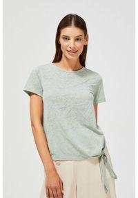 MOODO - Bluzka z wiązaniem. Materiał: bawełna, poliester. Długość rękawa: krótki rękaw. Długość: krótkie