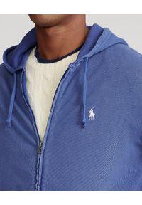 Ralph Lauren - RALPH LAUREN - Niebieska bluza z kapturem Spa Terry. Typ kołnierza: kaptur. Kolor: niebieski. Materiał: bawełna. Wzór: haft. Styl: klasyczny