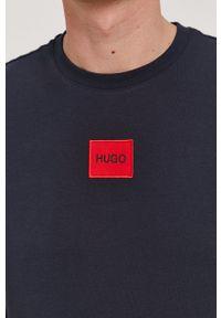 Hugo - T-shirt. Okazja: na co dzień. Kolor: niebieski. Materiał: dzianina. Wzór: aplikacja. Styl: casual