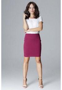 Katrus - Fuksja Ołówkowa Mini Spódnica z Ozdobnymi Przeszyciami. Kolor: różowy. Materiał: poliester, wiskoza, elastan